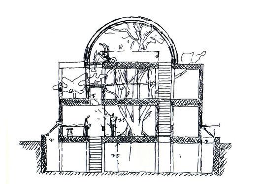 Section Sketch of Sangath Studio. Image Courtesy of Pritzker Architecture Prize