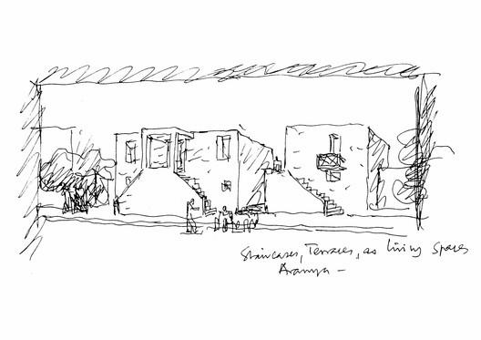 Sketch of Aranya Social Housing. Image Courtesy of Pritzker Architecture Prize