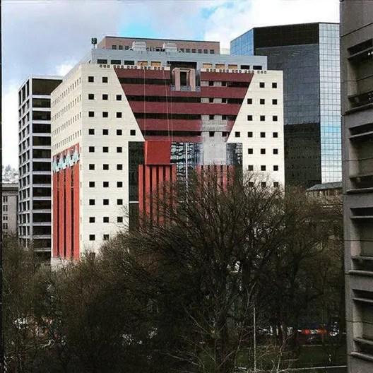 Facade Of Michael Graves' Postmodernist Portland Building