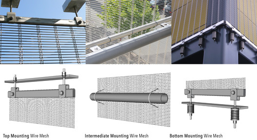 Mounting Solutions for Mesh Façades – Wire Mesh. Image Courtesy of HAVER & BOECKER