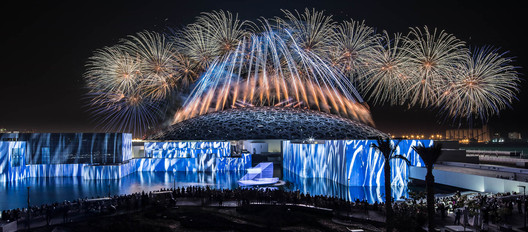"""Vives réflexions, museum reflections,"" multimedia and pyrotechnic show for the grand opening of Louvre Abu Dhabi, Abu Dhabi 2017. Artistic direction: Christophe Berthonneau, Groupe F. Image © N. Chavance, Groupe F"