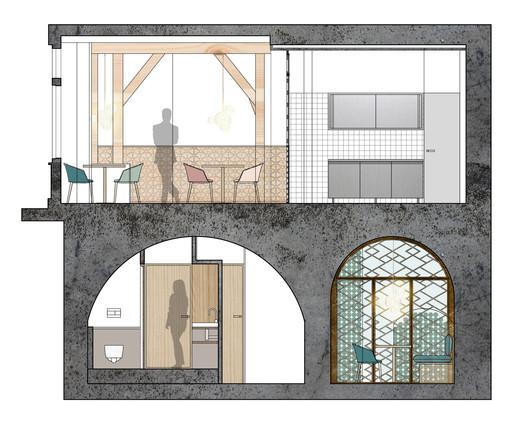 13-04-Coupe_BB) Restaurant Yoshinori / Alia Bengana architecte dplg + Atelier BEPG SASU d'Architecture Architecture