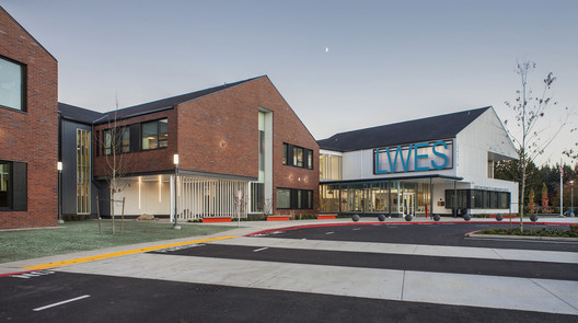 LWES_-_Entry_twilight Lake Wilderness Elementary School / TCF Architecture Architecture