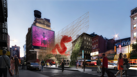 "Render_1 ODA Unveils Images of Bamboo-Inspired ""Dragon Gate"" for New York's Chinatown Architecture"