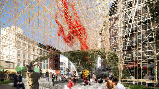 "Render_3 ODA Unveils Images of Bamboo-Inspired ""Dragon Gate"" for New York's Chinatown Architecture"
