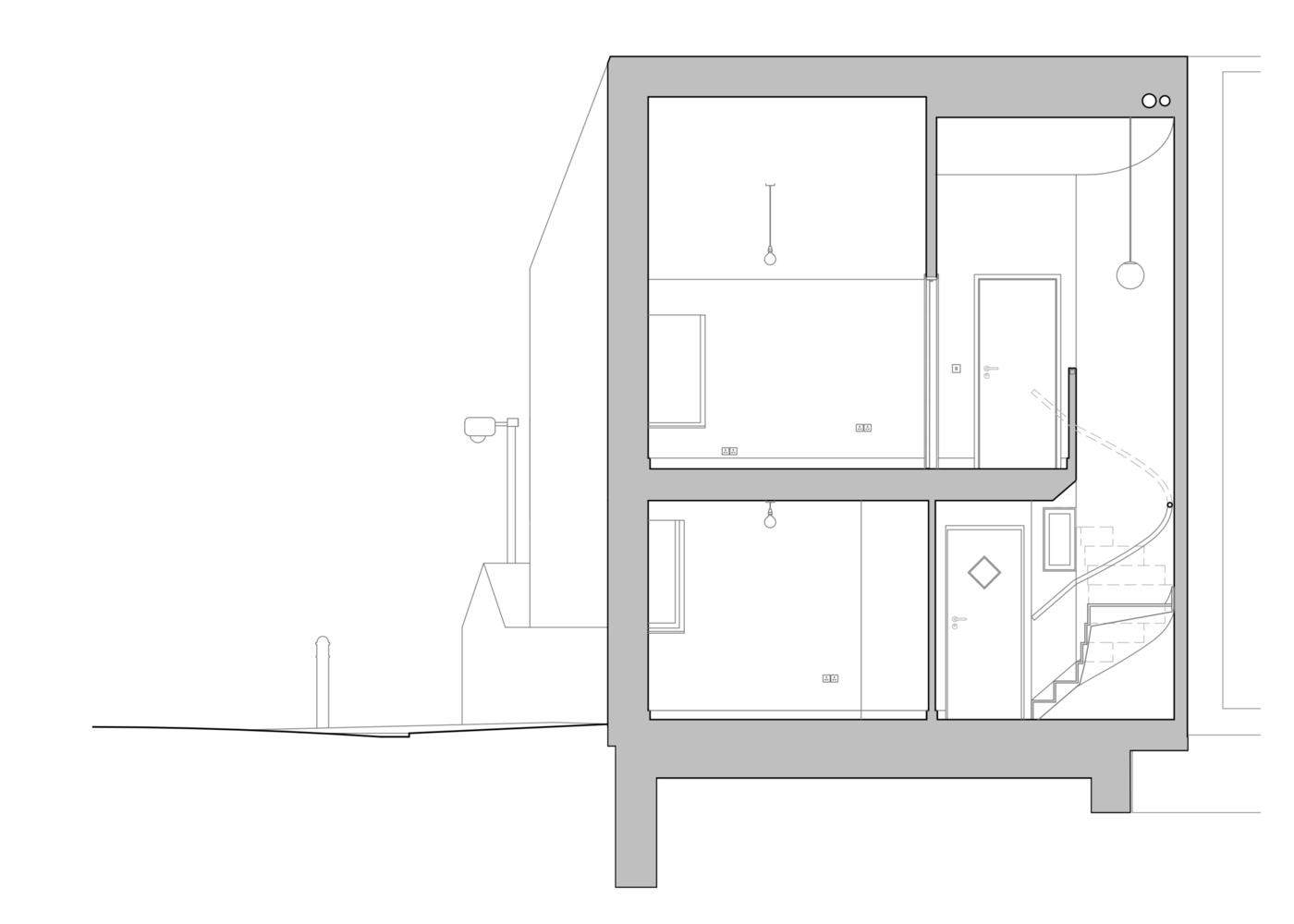 salmen house bedroom and stair section scale 1 to 50 at a3 [ 1400 x 1000 Pixel ]
