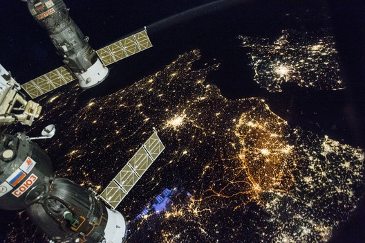 Nighttime view of Western Europe: England (top right), Paris (bright city near the middle of the image) and Belgium and the Netherlands (middle-right of frame). Image courtesy of the Earth Science and Remote Sensing Unit, NASA Johnson Space Center