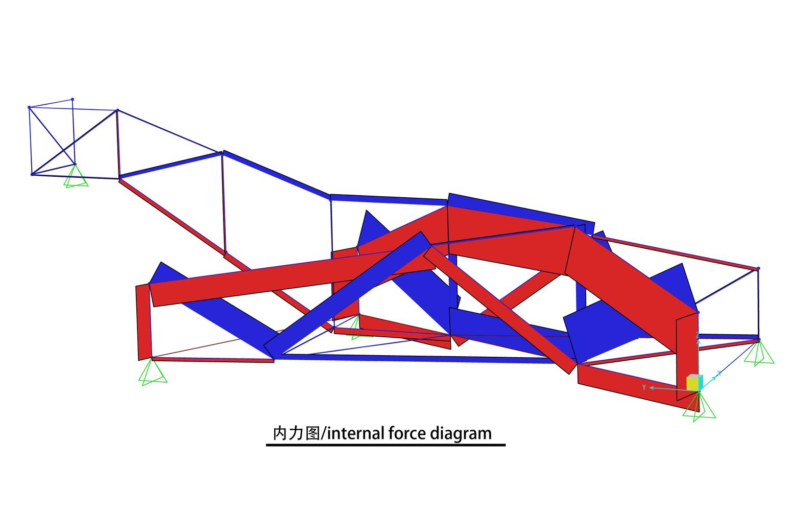 hight resolution of x bridge atelier groundwork architecture internal force diagram