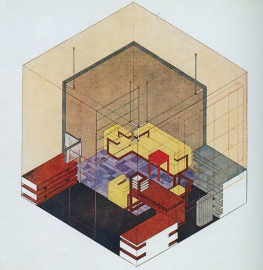 Isometric Drawing of Gropius' Study, Drawn by Herbert Bayer (1923). Image <a href='https://thecharnelhouse.org/2014/04/01/object-lessons-from-the-bauhaus/'>via The Charnel-House</a>