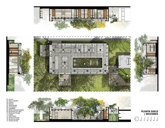 CC_Seccio%CC%81nes_y_Planta_Baja Infiltrated Patio / PLUG Architecture