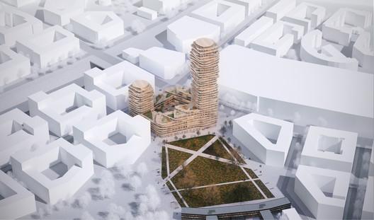 Belatchew-Arkitekter--Sveafastigheter--Nacka--Discus--Flygfoto--4000px Belatchew Arkitekter Releases Images of Proposed Discus Tower in Stockholm Architecture