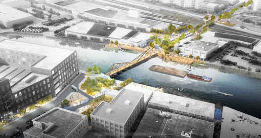 2018_05_08_Bird_View_1 A Floating Timber Bridge Could Connect Greenpoint, Brooklyn and Long Island City Architecture