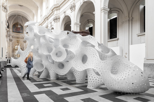 BruggeTriennale_TVM_%C2%A9NAARO_16 Marc Fornes / THEVERYMANY Installs Coral-Like Pavilion in 17th Century Bruges Seminary Architecture