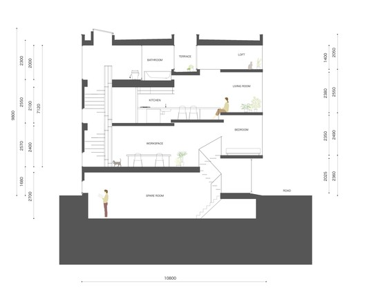 1.8M_house_section 1.8M Width House / YUUA Architects & Associates Architecture