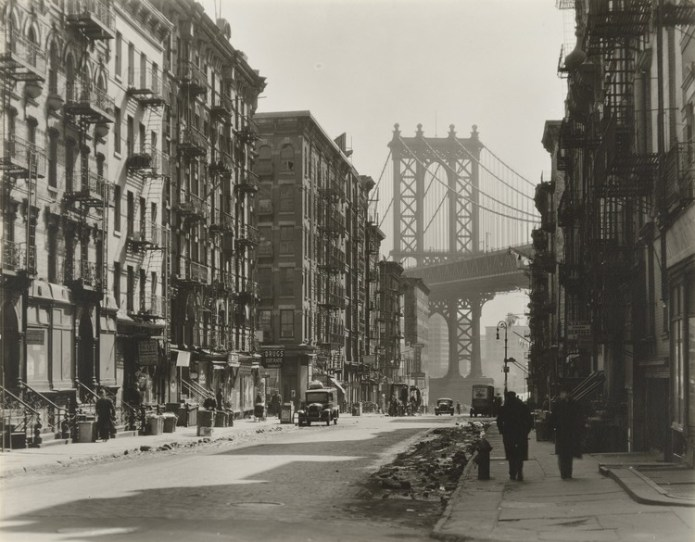 "Berenice Abbott. Pike and Henry Streets, Manhattan, 1936. © 2018 Berenice Abbott/Commerce Graphics. Credits: MoMA. Anonymous' gift. Under ""Fair Use"""
