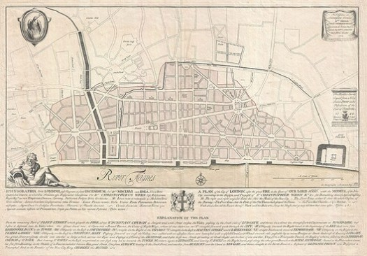 Christopher Wren Map of London. Image Courtesy of Wikimedia User BotMultichillT
