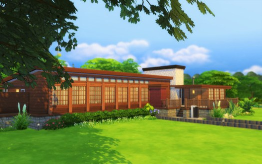 Mela Pagayonan's midcentury Modern inspired home in The Sims.