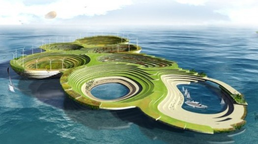 """The fantastical """"Noah's Ark"""" designed by Aleksandar Joksimovic and Jelena Nikolic envisions a series of interconnected, floating islands that can house species displaced by climate change.. ImageDesigned by Aleksandar Joksimovic, Jelena Nikolic; image via eVolo"""