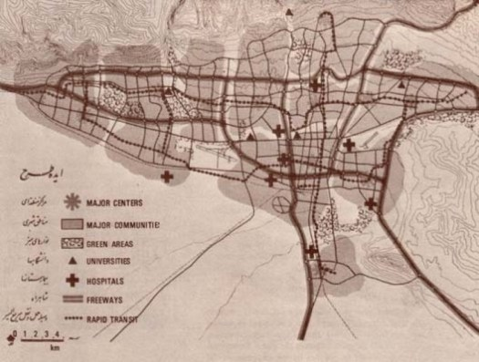 Courtesy of Habitat Unit. Gruen designated highly specified uses of space in his plan for Tehran.