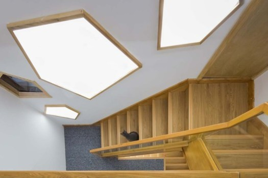 Stair case from the second to the third floor. Image © Qingling Zheng, Shijie Zhang