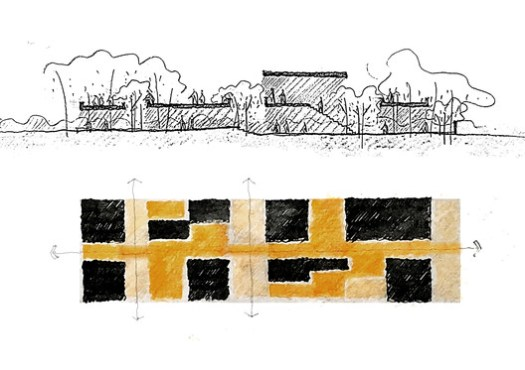 design sketch (horizontality and verticality of courtyard)