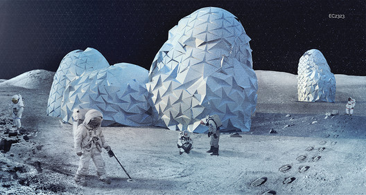 In recent years architects have increasingly been involved in proposals to expand human environments (and human resource extraction) into extraterrestrial environments, which Harper and Smith argue is symptomatic of the extreme technological developments needed to continue our growth paradigm. Shown here is TEST LAB, the <a href='https://www.archdaily.com/803985/9-visions-for-lunar-colonies-selected-as-winners-in-moontopia-competition'>winning entry to Eleven Magazine's Moontopia competition</a> from 2017. Image Courtesy of Eleven-Magazine.com