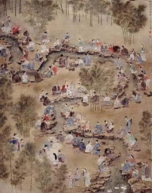 Qu Shui Liu Shang Painting( one of the most popular things to do for the ancient Chinese literati, which is drinking wine from a winding canal with one wine cup floating on it)