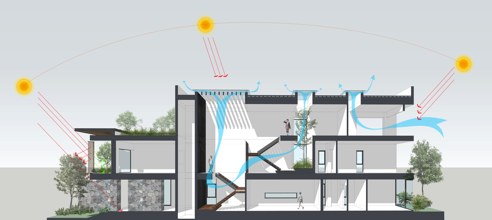 house of light wind ray architecture viet nam diagram 03 [ 1582 x 710 Pixel ]