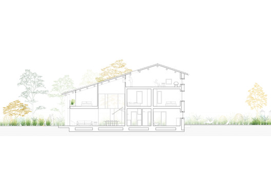 04_section_long A Country House in Chievo / studio wok Architecture