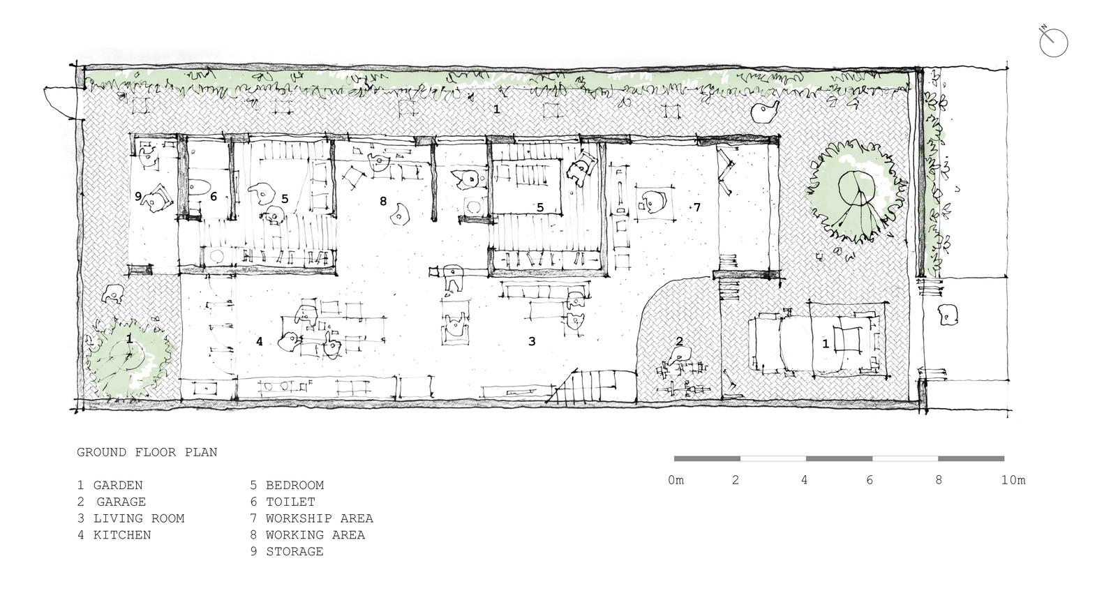 hight resolution of tile roof house k59atelier ground floor plan