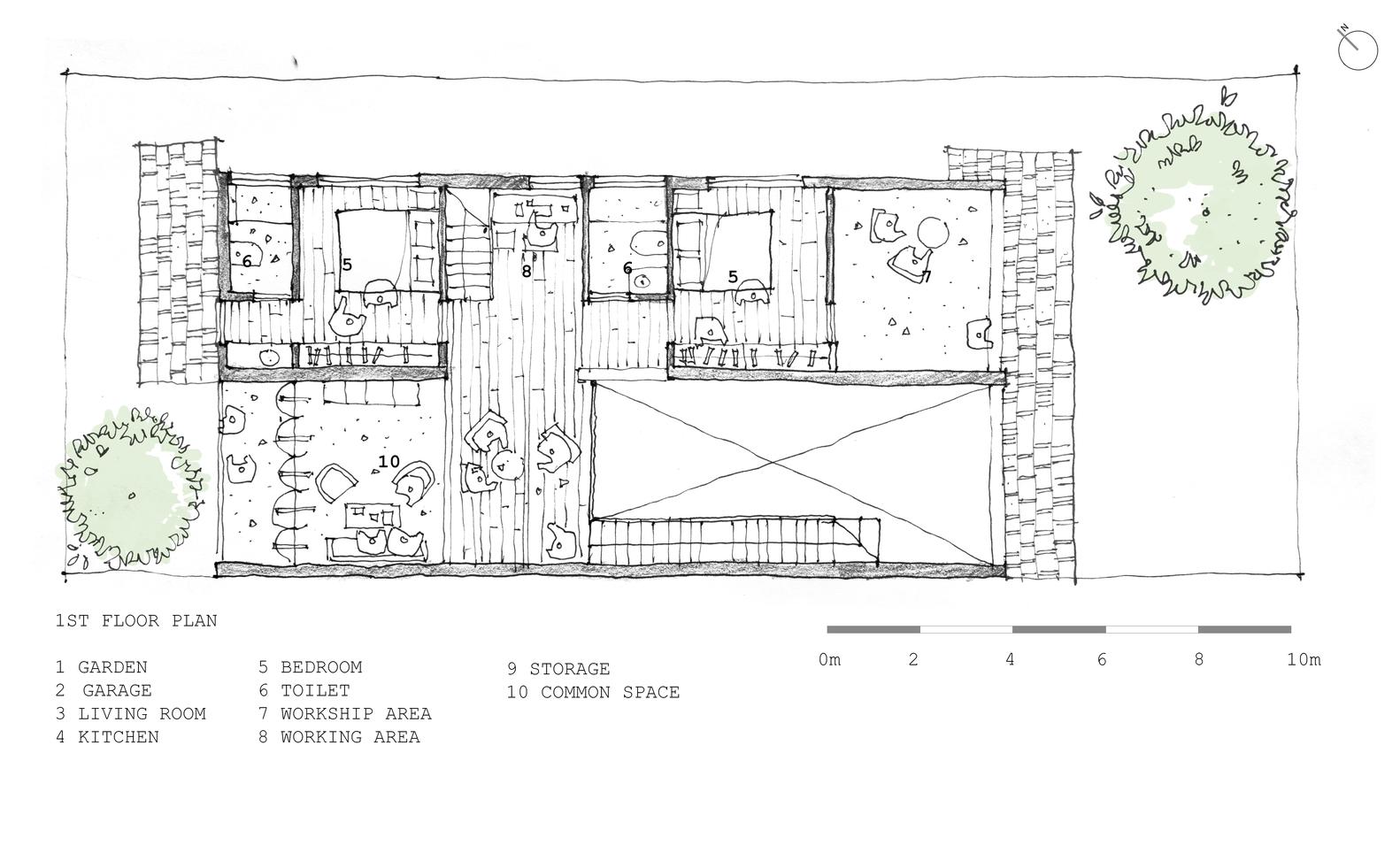 tile roof house k59atelier first floor plan [ 1582 x 964 Pixel ]