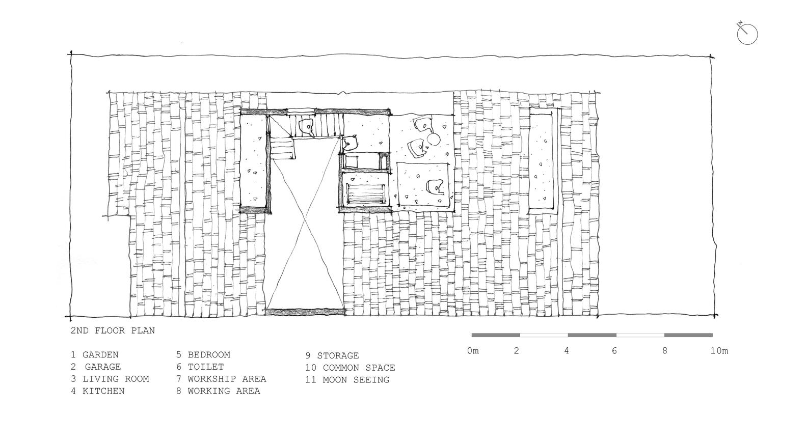 tile roof house k59atelier second floor plan [ 1582 x 870 Pixel ]