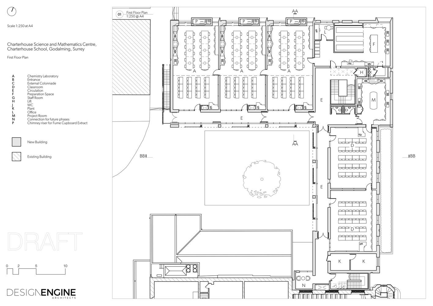 charterhouse science mathematics centre design engine architects first floor plan [ 1415 x 1000 Pixel ]