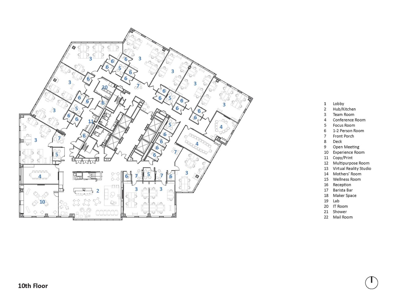 microsoft new england research development center sasaki tenth floor plan [ 1294 x 1000 Pixel ]