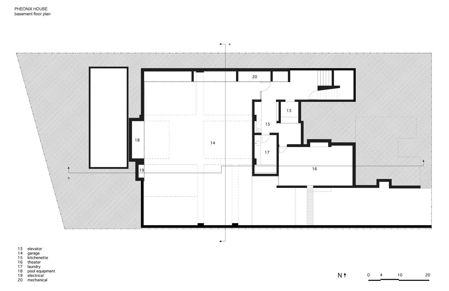 phoenix house sebastian mariscal studio basement plan [ 1545 x 1000 Pixel ]