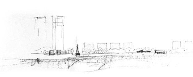 Architectural Restaurant Exterior Design Sketch