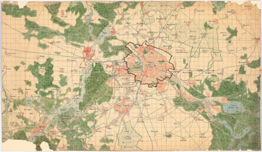 Hermann Jansen: General plan of Berlin and surroundings, built-up areas, green and water areas on a scale of 1: 30,000 for the competition Groß-Berlin 1910