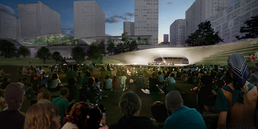Acoustic Shell for Events at the Central Green from East. Image Cortesía de Equipo de Diseño