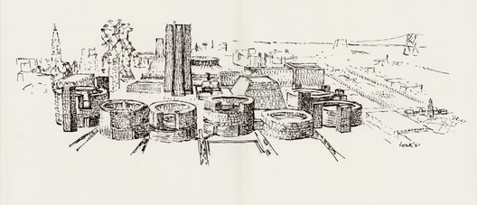 Louis I. Kahn's 1956 study for center city Philadelphia, ink on tracing paper. Image Courtesy of Designers & Books