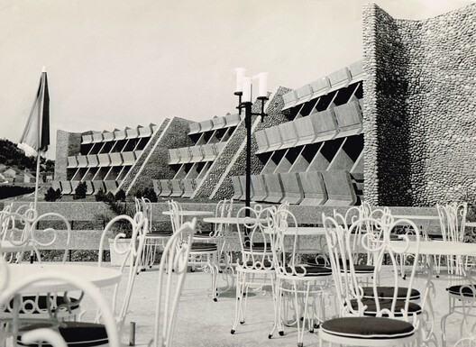Hotel Podgorica, architect Svetlana Kana Radevic, unknown photographer, archive of Pobjeda. Image Courtesy of APSS Institute