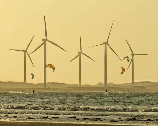 Wind turbines at Brazil's Icarai de Amontada beach. Image © Ronaldo Lourenco