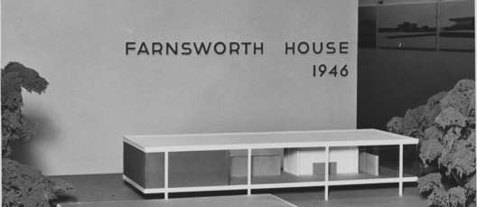 Model of the Farnsworth House. Image via Ludwig Mies van Der Rohe's first show at MoMA in 1947.