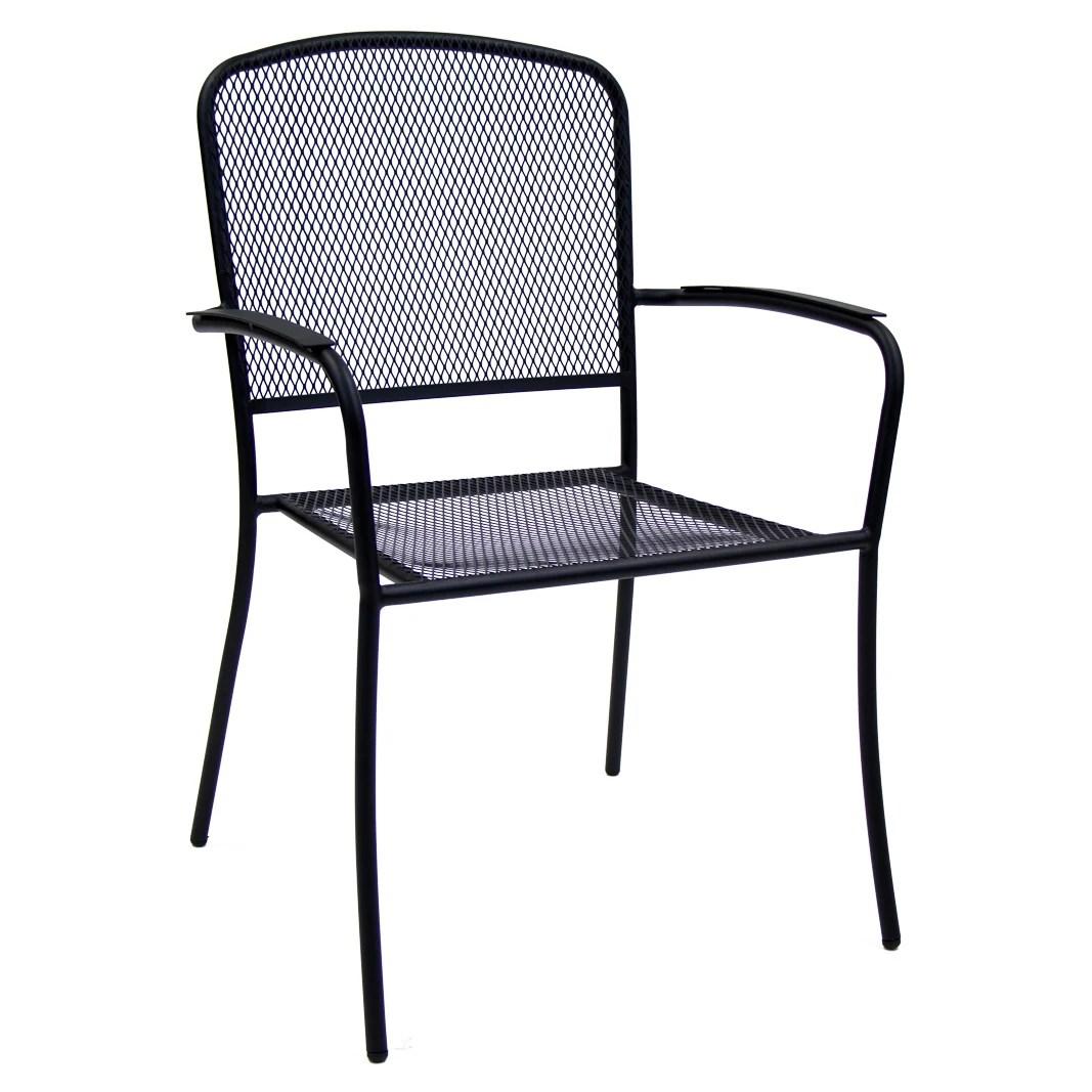 squared back black metal mesh patio arm chair