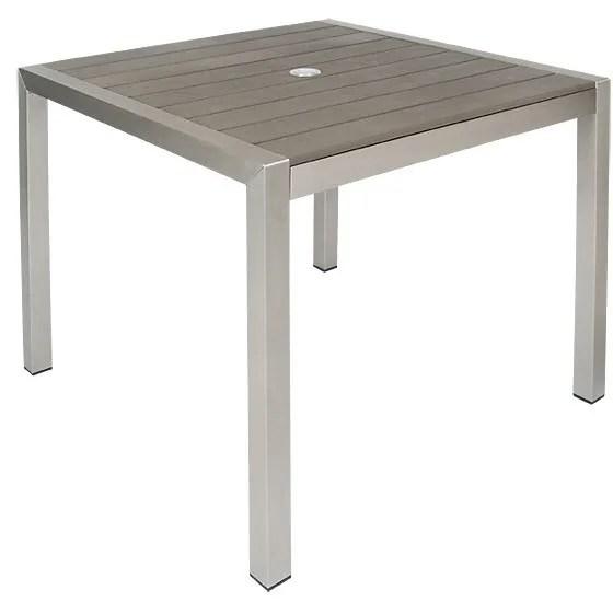 grey aluminum patio table with dark brown plastic teak slats