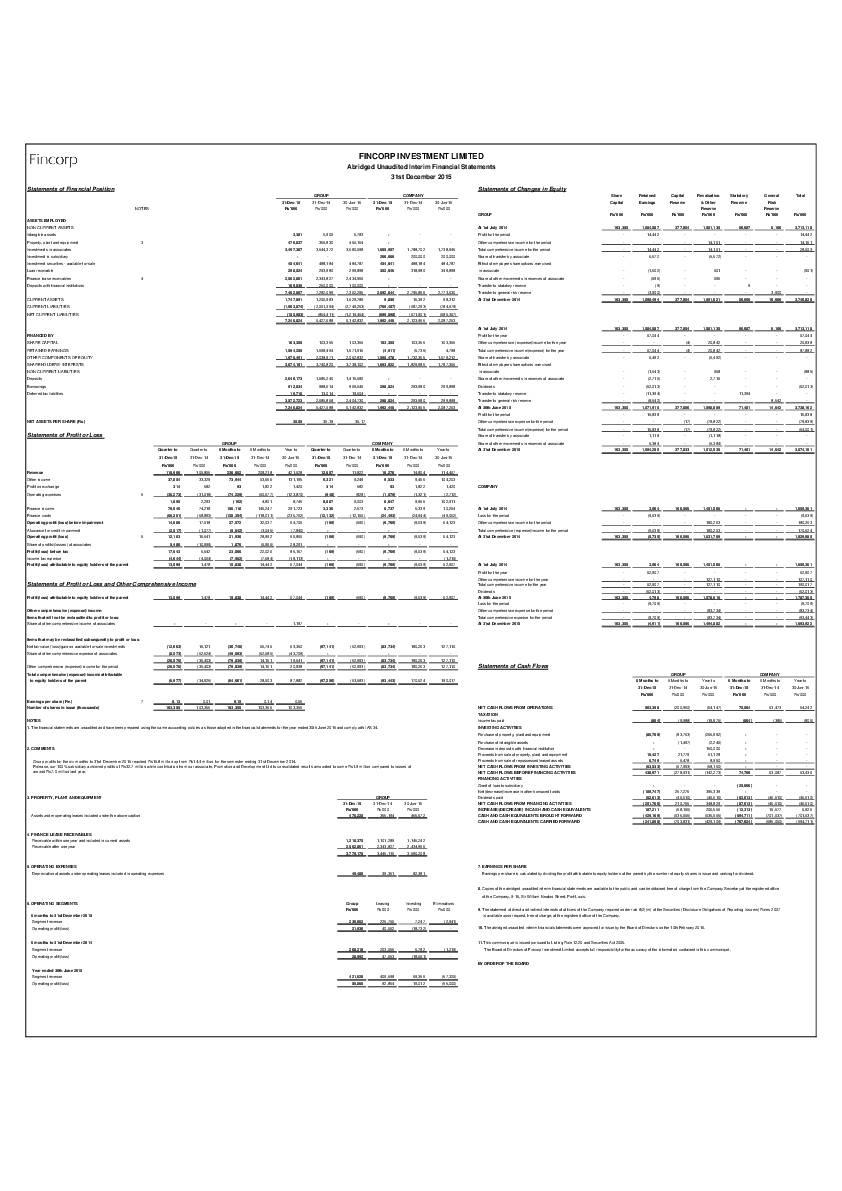 Fincorp Investment Ltd (FINC.mu) HY2016 Interim Report