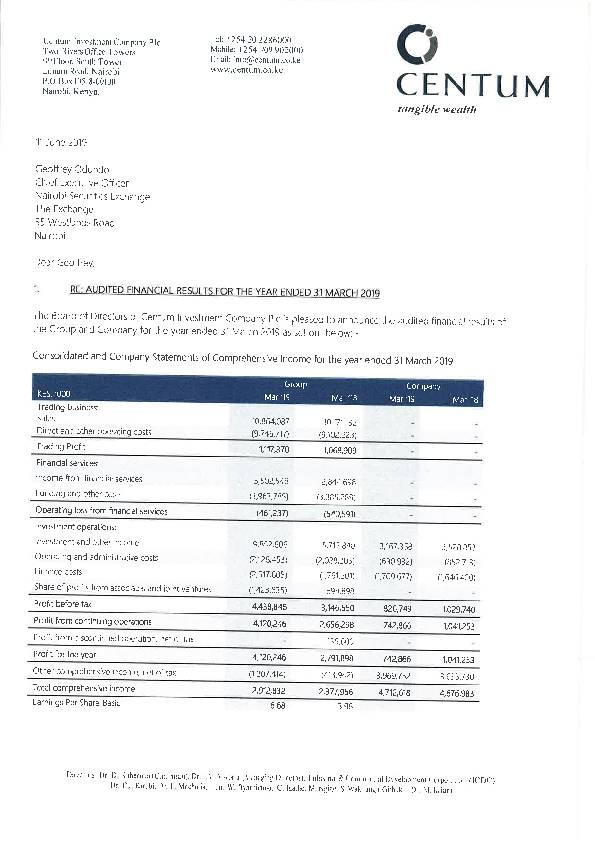 Centum Investment Limited (ICDC.ke) 2019 Abridged Report