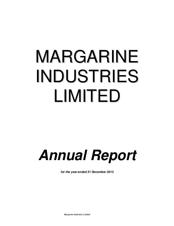 Margarine Industries Limited (MIL.mu) 2013 Annual Report