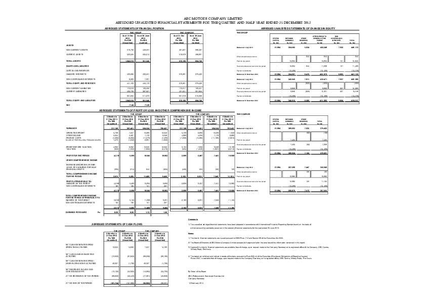 ABC Motors Company Limited (ABC.mu) HY2014 Interim Report