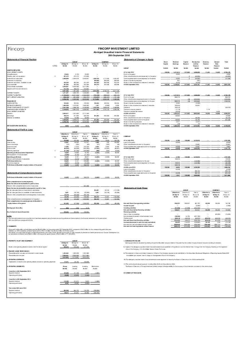 Fincorp Investment Ltd (FINC.mu) Q12017 Interim Report
