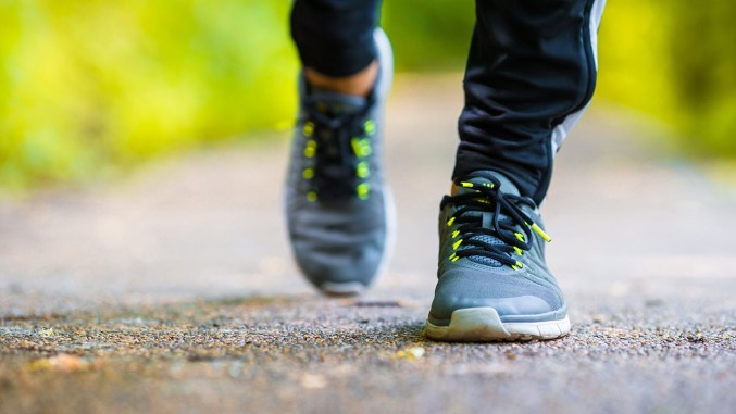 a person running outside for exercise